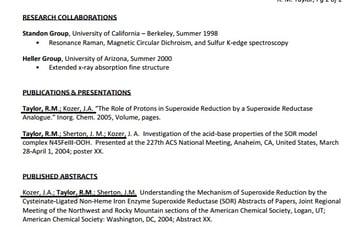 Publications for a CV