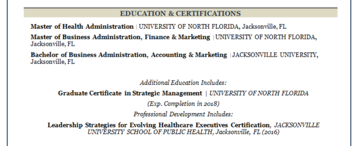 Combination resume sample education section
