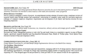 combination resume sample for HR