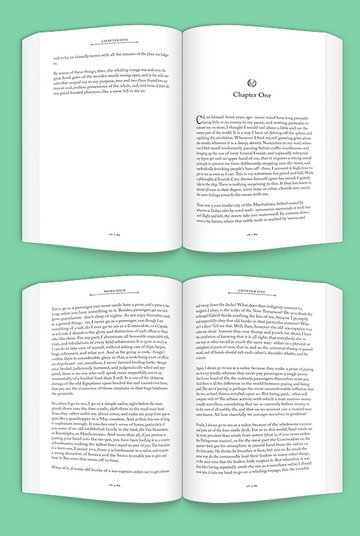 mock-up of open book