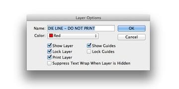 layer options die line