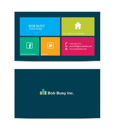 grid business card front