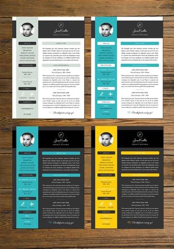 bright color resume
