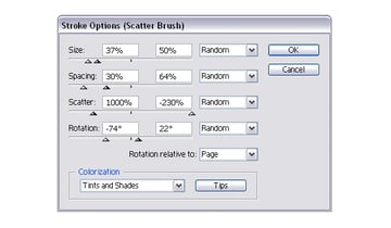 settings for sprinkles scatter brush