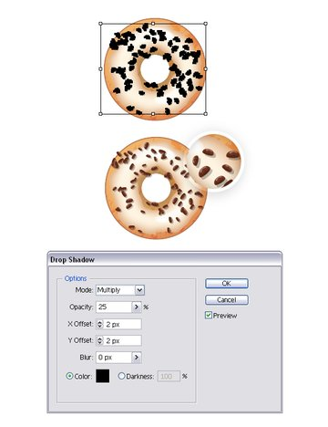 create chocolate chips on donut 2