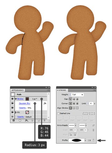 add shadow to gingerbread arms 1