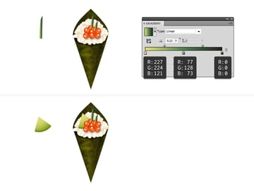 add greens and avocado to temaki sushi
