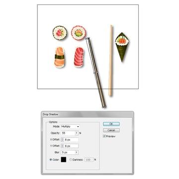 create shadow for vector chopsticks