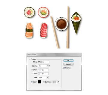 create shadow for vector soy bowl