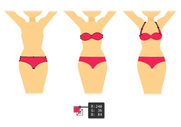 draw the swimsuit of blonde girl