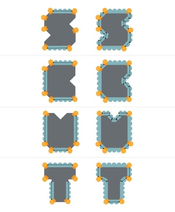 create biscuit edge for the letters
