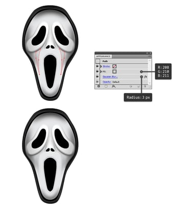 create shading on the cheeks of mask