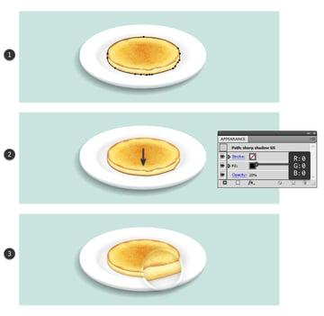create sharp shadow under first pancake