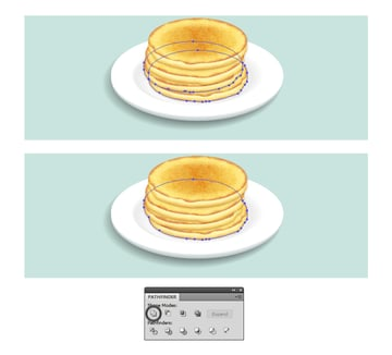 create shadow shape under the pancakes