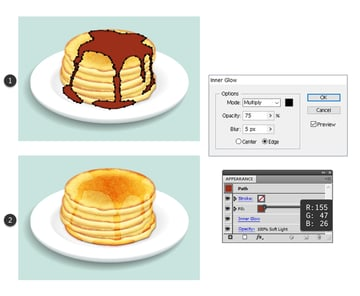 draw the big syrup shape on pancakes