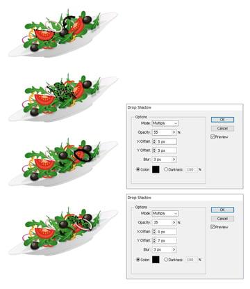 arrange more salad ingredients on plate