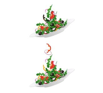 arrange salad ingredients up in the air