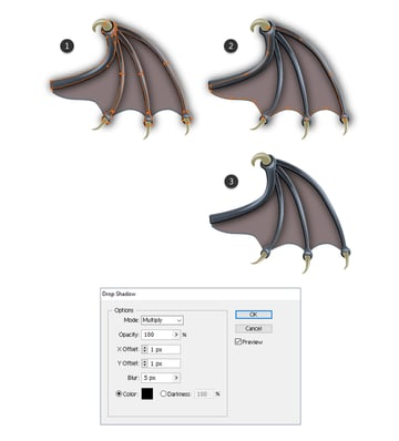 how to create shadow on the membrane of the bats wing