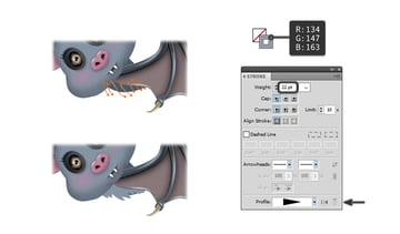 how to create the light pieces of fur on the bats body