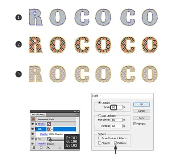 how to add the pattern to Rococo letters