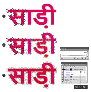 how to create shading on golden border around sari text