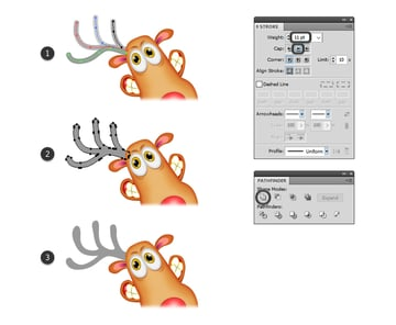 how to draw the horns shape of the reindeer