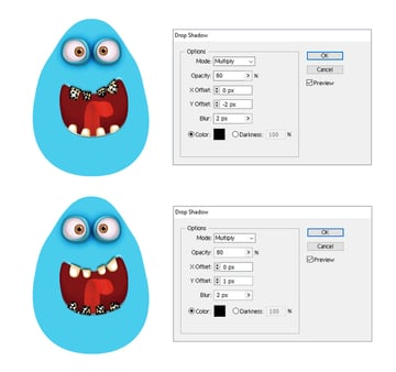 how to add shadow to the monsters teeth