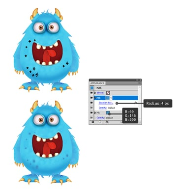 how to add blue spots on monsters body