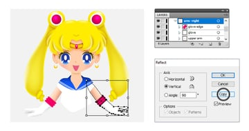 how to create sailor moons left arm
