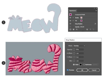 how to create shadow for Meow text