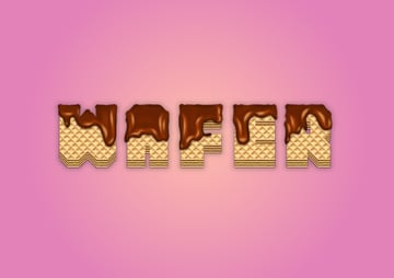 wafer text effect with melted chocolate final image