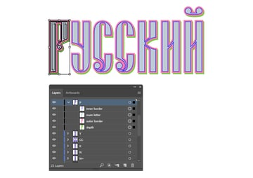 how to organize layers for Russian vector text