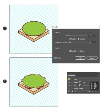 how to create the lettuce shape of the sandwich icon