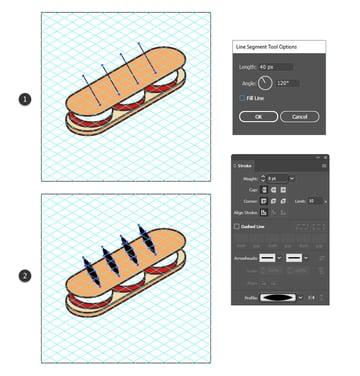 how to add details on the isometric food icon