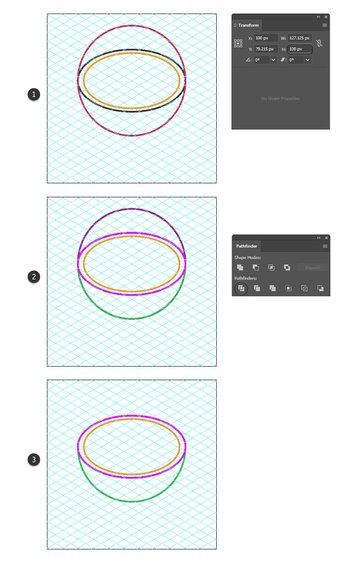 how to distort an isometric circle to create the soup bowl shape