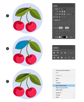 how to create the midrib of the vintage leaf in Illustrator