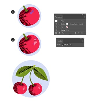 how to create highlight with vintage Illustrator brushes