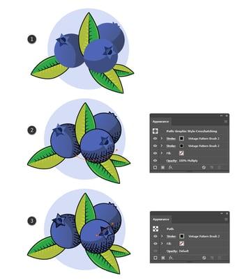 how to use vintage Illustrator brushes on fruit badges in Illustrator