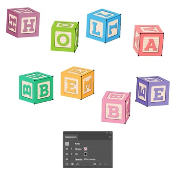 how to create shadow on the side of all baby blocks
