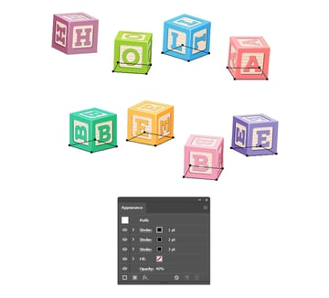 how to create shadow under all baby letter blocks in Illustrator