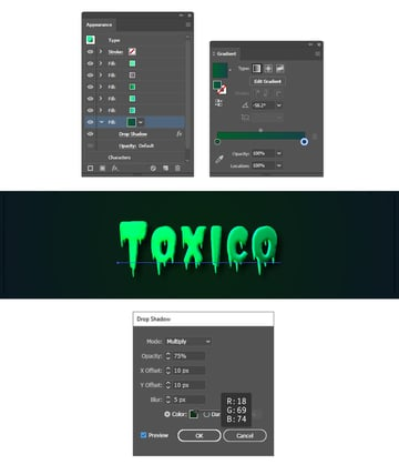how to create shadow under the text in Illustrator