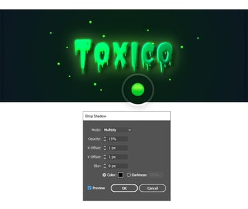 how to create shadow under the glowing toxic particles