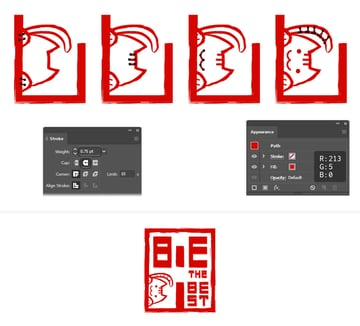 How to finalize the first Hanko cat character in Illustrator
