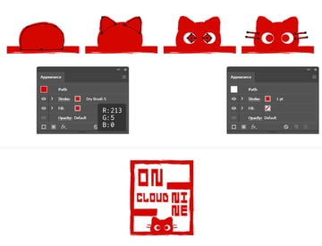 How to create a red Hanko stamp cat character in Illustrator