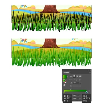 how to make a second row of grass with illustrator brushes