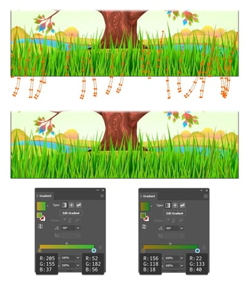 how to recolor the grass in illustrator