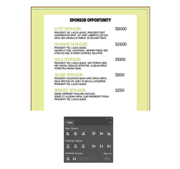 how to add more sponsor info on right inside layout of brochure in illustrator