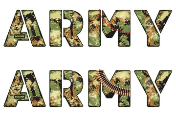how to apply the bullet belt pattern brush on military font
