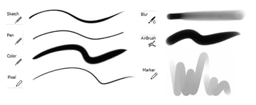 Different drawing tools