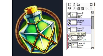 Outline the silhouette of the potion